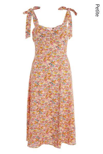 Petite Pink Floral Midi Dress